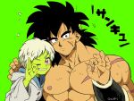 1boy 1girl :/ ;) abs artist_name black_hair blue_eyes blush broly_(dragon_ball_super) buttons cheelai chest_scar clenched_teeth coat commentary_request dark_skin dark_skinned_male dragon_ball dragon_ball_super_broly eyelashes facial_scar fingernails flying_sweatdrops green_background green_skin grey_coat grin hand_on_another's_head hand_on_another's_shoulder hood hood_down hooded_coat long_sleeves looking_at_viewer medium_hair messy_hair muscle nervous ok_sign one_eye_closed outsuki pectorals scar scar_on_cheek shaded_face shirtless short_hair side-by-side simple_background smile speed_lines sweatdrop teeth translation_request upper_body v-shaped_eyebrows very_short_hair violet_eyes white_hair wristband