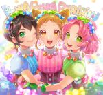 3girls :d ;) aikatsu!_(series) aikatsu_on_parade! arisugawa_otome bangs black_hair blue_dress blush braid brown_eyes brown_hair candy_wrapper closed_mouth commentary_request crown_braid dress earrings eyebrows_visible_through_hair girl_sandwich green_dress green_eyes jewelry kamiya_shion kitaouji_sakura matsurika_youko multiple_girls one_eye_closed open_mouth parted_bangs pink_dress pink_hair puffy_short_sleeves puffy_sleeves sandwiched short_hair short_sleeves smile sparkle star star_earrings striped upper_body upper_teeth vertical-striped_dress vertical_stripes