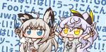 2girls :d =3 ahoge aka_shiba animal_ears azur_lane bamboo_shoot bangs black_ribbon blue_background blue_eyes blue_neckwear blush_stickers clothes_writing commentary_request crossed_bangs eyebrows_visible_through_hair fox_ears fox_tail glowstick grey_shirt hair_ribbon holding_glowstick hololive kawakaze_(azur_lane) lavender_hair long_hair long_ponytail multiple_girls neckerchief open_mouth ribbon shirakami_fubuki shirt short_sleeves sidelocks silver_hair siren_purifier_(azur_lane) smile sparkling_eyes t-shirt tail upper_body white_shirt