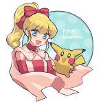 1girl :d blonde_hair blue_background blue_eyes breasts cape copyright_name creature gen_1_pokemon hair_ribbon jumping long_hair looking_at_viewer marron_(pokemon) mayuzumi open_mouth pikachu pokemon pokemon_(creature) pokemon_pipipi_adventure ponytail red_ribbon ribbon small_breasts smile upper_body