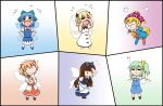 >_< 6+girls :i =_= american_flag_legwear american_flag_shirt apron bangs beret blonde_hair blue_dress blue_footwear blue_hair blue_skirt blue_vest blunt_bangs bow bowtie brown_hair chestnut_mouth chibi cirno clownpiece commentary_request cravat crying daiyousei dress drill_hair eighth_note fairy_wings flying_teardrops green_hair hair_bow hair_ribbon hand_on_own_chin hand_on_own_forehead hands_in_hair hands_on_hips hands_on_own_face hat headdress jester_cap laughing leaning_forward long_hair looking_down luna_child mary_janes multiple_girls musical_note open_mouth pantyhose pinafore_dress pout puffy_short_sleeves puffy_sleeves rakugaki-biyori red_neckwear red_shirt red_skirt redhead ribbon shirt shoes short_hair short_sleeves side_ponytail skirt smile smirk solid_oval_eyes split_screen standing star_sapphire sunny_milk tears touhou two_side_up very_long_hair vest waist_apron white_dress white_headwear white_legwear white_shirt wings yellow_neckwear