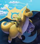 blue_sky creature day day_and_night dragonite flying full_body gen_1_pokemon gen_3_pokemon highres holding holding_pokemon mcgmark night night_sky no_humans pikachu pokemon pokemon_(creature) shelgon sky