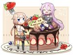 2girls anniversary asymmetrical_legwear birthday_cake blue_eyes blueberry braid cake cevio chibi chocolate closed_eyes collar commentary food food_on_face fork fruit full_mouth grey_shirt highres holding holding_fork ia_(vocaloid) kneehighs long_hair looking_at_viewer looking_back minigirl multiple_girls off-shoulder_shirt off_shoulder one_(cevio) open_mouth pink_hair pink_skirt plate platinum_blonde_hair shidoh279 shirt short_hair single_thighhigh skirt smile strawberry thigh-highs very_long_hair vocaloid