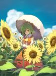 1girl blue_sky clouds day field flower flower_field green_hair highres holding holding_umbrella kazami_yuuka long_sleeves looking_at_viewer outdoors parasol plaid plaid_skirt plaid_vest red_eyes red_skirt red_vest shiratama_(hockey) shirt short_hair skirt sky smile solo standing sunflower touhou umbrella vest white_shirt yellow_neckwear