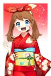 1girl :d bangs blue_eyes bow brown_hair floral_print gradient gradient_background hair_bow haruka_(pokemon) highres japanese_clothes kimono long_hair looking_at_viewer obi open_mouth pokemon pokemon_(game) pokemon_rse print_bow print_kimono red_background red_bow red_kimono sash shiny shiny_hair smile solo standing twintails upper_body white_background yuihiko yukata