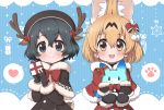 2girls adapted_costume animal_costume animal_ears antlers black_gloves black_hair black_mittens blonde_hair blue_eyes blush bow bowtie brown_capelet brown_coat brown_headwear capelet coat commentary ear_ribbon extra_ears eyebrows_visible_through_hair fur_trim gloves hair_bow heart kaban_(kemono_friends) kemono_friends lucky_beast_(kemono_friends) mittens multicolored_hair multiple_girls ransusan red_bow red_capelet red_coat red_neckwear reindeer_antlers reindeer_costume santa_costume serval_(kemono_friends) serval_ears serval_girl short_hair spoken_heart spoken_paw winter_clothes yellow_eyes