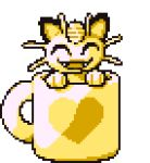 :d ^_^ animated animated_gif cat cat_focus closed_eyes creature cup facing_viewer gen_1_pokemon lowres meowth mug open_mouth pokemon pokemon_(creature) smile spinning transparent_background