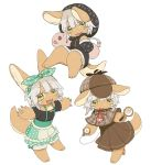 1other alternate_costume animal_ears blush brown_headwear brown_skirt chibi eyebrows_visible_through_hair fangs furry hood hoodie kawasemi27 looking_at_viewer looking_away made_in_abyss magnifying_glass mitty_(made_in_abyss) nanachi_(made_in_abyss) necktie open_mouth red_neckwear short_hair skirt smile tail whiskers white_hair yellow_eyes
