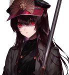 1girl bangs black_hair commentary_request fate_(series) fuuna_(conclusion) grey_coat gun hair_between_eyes hat highres long_hair looking_at_viewer military_hat oda_nobunaga_(fate) oda_nobunaga_(fate)_(all) parted_lips peaked_cap red_eyes rifle simple_background solo upper_body weapon white_background