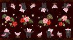 absurdres bear bewear creature flower gen_7_pokemon golden_boden highres no_humans pokemon pokemon_(creature) running sitting standing stufful