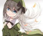 1girl bangs black_bow blue_eyes blush bow commentary_request dress eyebrows_visible_through_hair floating_hair gradient gradient_background green_dress green_headwear grey_background grey_hair hair_between_eyes hands_up hat hat_bow juliet_sleeves long_hair long_sleeves looking_at_viewer original parted_lips petals puffy_sleeves sleeves_past_wrists solo very_long_hair white_background yuuhagi_(amaretto-no-natsu)