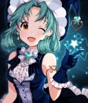 1girl ;d absurdres aqua_background aqua_hair armlet bangs bare_shoulders black_background black_skirt blue_bow blue_gloves blue_headwear blue_vest bow bowtie breasts center_frills commentary_request constellation curly_hair earrings emerald_(gemstone) eyebrows_visible_through_hair frilled_gloves frilled_skirt frills gem glint gloves gradient gradient_background hand_up hat heart heart-shaped_gem heart_earrings highres idolmaster idolmaster_million_live! index_finger_raised jewelry korean_commentary light_blush looking_at_viewer medium_breasts medium_hair one_eye_closed open_mouth parted_bangs pearl_(gemstone) pinkiepies2 shirt skirt sleeveless sleeveless_shirt smile solo star striped striped_bow striped_vest tokugawa_matsuri upper_body vest white_bow white_shirt witch_hat yellow_eyes