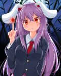 >:( 1girl animal_ears bamboo bamboo_forest blazer blouse blush breasts buttons commentary commentary_request eyebrows_visible_through_hair forest full_moon jacket lavender_hair long_hair looking_at_viewer medium_breasts moon nature necktie night night_sky outdoors pink_skirt pleated_skirt purple_hair rabbit_ears red_eyes red_neckwear reisen_udongein_inaba rururiaru skirt sky solo touhou very_long_hair