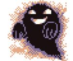 3d animated animated_gif commentary cortoony empty_eyes english_commentary floating ghost grin lowres multiple_sources no_humans pixel_art pokemon pokemon_(game) pokemon_rgby pokemon_tower_ghost smile solo spinning transparent_background