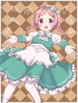 1girl :d akane_mimi apron argyle argyle_background bangs blush bottle bow braid brown_background commentary_request cup dress eyebrows_visible_through_hair frilled_apron frills green_dress green_hairband gucchiann hairband heart highres juliet_sleeves key long_sleeves looking_at_viewer open_mouth outstretched_arms pantyhose parted_bangs pink_hair pocket_watch princess_connect! princess_connect!_re:dive puffy_sleeves saucer shirt sleeveless sleeveless_dress smile solo striped striped_bow teacup twin_braids twintails violet_eyes waist_apron watch white_apron white_bow white_legwear white_shirt