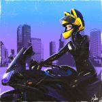 1980s_(style) 1girl animal_helmet celty_sturluson city dullahan durarara!! ground_vehicle headless helmet highres motor_vehicle motorcycle motorcycle_helmet oldschool sergey_orlov