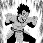 1boy anger_vein black_hair bloodshot_eyes clenched_hand clenched_teeth dragon_ball dragon_ball_(classic) gloves greyscale looking_at_viewer male_focus monochrome powering_up simple_background solo spiky_hair standing suzushiro_(suzushiro333) teeth vegeta white_gloves