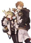 1boy 1girl a082 animal_ears bag black_gloves black_legwear black_shorts blonde_hair brown_eyes brown_hair candy cup disposable_cup djeeta_(granblue_fantasy) fake_animal_ears food gloves gran_(granblue_fantasy) granblue_fantasy headband holding holding_cup jacket jewelry lollipop necklace selfie_stick shorts smile white_background