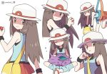 1girl agata_(agatha) bag blue_shirt breasts brown_eyes brown_hair closed_eyes crossed_legs gen_1_pokemon hat holding holding_poke_ball long_hair messenger_bag multiple_views nidoran poke_ball pokemon pokemon_(creature) pokemon_(game) pokemon_frlg porkpie_hat red_skirt shaded_face shirt shoulder_bag simple_background sitting skirt sleeveless sleeveless_shirt tentacles white_background