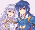 1boy 1girl 2020s 90s blue_eyes blue_hair cape deirdre_(fire_emblem) fire_emblem fire_emblem:_genealogy_of_the_holy_war fire_emblem:_seisen_no_keifu fire_emblem_4 fire_emblem_heroes headband highres ikuradon_tabeti intelligent_systems long_hair looking_at_viewer love mother_and_son nintendo seliph_(fire_emblem) smile super_smash_bros. violet_eyes wavy_hair white_hair