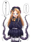 1girl abigail_williams_(fate/grand_order) admjgdme bangs black_bow black_dress black_headwear blonde_hair bloomers blue_eyes blush bow bug butterfly commentary_request dress eyebrows_visible_through_hair fate/grand_order fate_(series) hair_bow hat highres insect long_hair long_sleeves looking_at_viewer open_mouth orange_bow parted_bangs polka_dot polka_dot_bow simple_background sleeves_past_fingers sleeves_past_wrists solo suction_cups tentacles translation_request underwear v-shaped_eyebrows white_background white_bloomers