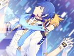 2boys back-to-back blonde_hair blue_eyes blue_scarf blurry blurry_background coat digital_dissolve eraser_(module) fingerless_gloves gloves headphones headset kagamine_len kaito male_focus multiple_boys originator_(module) project_diva_(series) scarf shirt sinaooo smile upper_body vocaloid white_coat white_gloves white_shirt yellow_nails