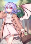 1girl alternate_costume arm_up bag bat_wings belt blue_hair blue_sky blurry blurry_background braid brown_coat coat commentary_request contemporary contrapposto cowboy_shot day depth_of_field dress eyebrows_visible_through_hair fingernails french_braid gunjou_row hair_between_eyes hand_in_hair handbag highres holding_handbag looking_at_viewer nail_polish no_headwear open_clothes open_coat outdoors petticoat pinafore_dress pink_dress pointy_ears purple_nails red_eyes red_nails remilia_scarlet sett sharp_fingernails shirt sky slit_pupils smile solo standing stone_walkway touhou tree white_shirt wings