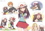 1boy 3girls ? agata_(agatha) bag blue_(pokemon) blue_shirt blush brown_eyes brown_hair chikorita clenched_hand closed_eyes eevee facepaint gen_1_pokemon gen_2_pokemon hat holding holding_poke_ball holding_sketchbook jacket kotone_(pokemon) long_hair long_sleeves matsurika_(pokemon) messenger_bag multiple_girls multiple_views ookido_green open_mouth orange_hair paint paintbrush poke_ball pokemon pokemon_(creature) pokemon_(game) porkpie_hat red_skirt shaded_face shirt shoulder_bag simple_background sitting sketchbook skirt sleeveless sleeveless_shirt smile sparkle suspenders thigh-highs twitter_username vs_seeker white_background