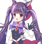 1girl :d animal_ear_fluff animal_ears bangs bare_shoulders black_gloves black_shirt blunt_bangs blush bow frilled_skirt frills gloves hat keyhole kirihara_kasumi looking_at_viewer mauve multicolored_hair open_mouth princess_connect! princess_connect!_re:dive purple_bow purple_hair red_headwear red_skirt shirt simple_background skirt sleeveless sleeveless_shirt smile solo spade_(shape) twintails two-tone_hair violet_eyes white_background