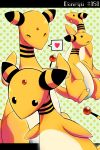 ^_^ ampharos black_eyes blush character_name closed_eyes commentary_request creature gen_2_pokemon heart highres idora_(idola) letterboxed no_humans number pokemon pokemon_(creature) pokemon_number polka_dot polka_dot_background speech_bubble spoken_heart standing too_many yellow_theme
