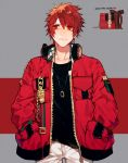 1boy black_shirt chain closed_mouth collarbone grey_background hand_in_pocket headphones headphones_around_neck headphones_removed highres ittoki_otoya jacket jewelry long_sleeves looking_away looking_up male_focus multicolored multicolored_background necklace open_clothes open_jacket pants pocket pullssack red_background red_eyes red_jacket redhead shirt short_hair smile solo standing undershirt uta_no_prince-sama white_pants zipper
