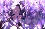 1girl bangs blurry bug butterfly butterfly_hair_ornament covered_mouth dappled_sunlight depth_of_field empty_eyes flower hair_ornament haori highres holding holding_sword holding_weapon insect japanese_clothes katana kimetsu_no_yaiba kochou_shinobu long_sleeves looking_at_viewer parted_bangs portrait purple_butterfly purple_flower purple_hair purple_theme reflection signature solo sunlight sword user_crvv2428 violet_eyes weapon wisteria