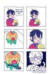 1boy 6koma :d :o ^_^ absurdres apple_juice appletun black_hair cardigan closed_eyes commentary creature drinking_straw english_commentary english_text eye_contact gen_8_pokemon glasses green_eyes gun highres holding juice looking_at_another looking_at_viewer mouth_hold open_mouth original partially_colored pokemon pokemon_(creature) scared smile standing strasberrie sweat twitter_username weapon