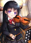 1girl :d bangs black_hair black_jacket blazer blurry blurry_background blush bow breasts brown_sweater collared_shirt commentary_request curtains depth_of_field dress_shirt eyebrows_visible_through_hair grey_skirt highres holding holding_instrument indoors instrument jacket long_hair long_sleeves mirai_(happy-floral) open_mouth original plaid plaid_skirt pleated_skirt red_bow shirt skirt sleeves_past_wrists small_breasts smile solo sweater very_long_hair violet_eyes violin white_shirt window wooden_floor