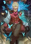 1boy absurdres ascot black_gloves blonde_hair brown_footwear brown_pants bug butterfly buttons cape chain chair closed_mouth collar crossed_legs facial_hair fate/grand_order fate_(series) glasses gloves glowing glowing_eye highres holding holding_pocket_watch iketsumi indoors insect james_moriarty_(fate/grand_order) long_hair looking_at_viewer male_focus mustache on_chair pants pocket_watch puffy_sleeves red_neckwear red_vest short_hair silk sitting sleeve_cuffs solo spider_web striped striped_pants vest watch