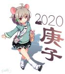 1girl 2020 ahoge animal_bag animal_ears bag bangs bell black_footwear black_skirt brown_eyes brown_hair chinese_commentary chinese_zodiac commentary_request drawstring eyebrows_visible_through_hair green_hoodie green_ribbon grin hair_bell hair_between_eyes hair_ornament hair_ribbon highres holding holding_bag hood hood_down hoodie jingle_bell kneehighs langbazi looking_at_viewer loose_socks mouse_ears original paper_bag pleated_skirt ribbon shadow shoe_soles shoes shoulder_bag signature skirt smile solo standing standing_on_one_leg white_background white_legwear year_of_the_rat
