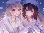 2girls :d bangs blonde_hair blush brown_hair capelet closed_mouth commentary_request eyebrows_visible_through_hair fate/kaleid_liner_prisma_illya fate_(series) frilled_sleeves frills fur-trimmed_capelet fur_hat fur_trim gradient gradient_background hair_ornament hairclip hand_on_own_chest hat illyasviel_von_einzbern lens_flare long_hair long_sleeves looking_at_viewer miyu_edelfelt multiple_girls nasii open_mouth partial_commentary pom_pom_(clothes) red_eyes revision ribbon smile snowflakes upper_body white_capelet white_headwear white_ribbon yellow_eyes