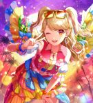 1girl ;d aikatsu!_(series) aikatsu_on_parade! bare_shoulders blonde_hair blush clothes_around_waist commentary_request detached_sleeves eyewear_on_head hand_up leaning_forward looking_at_viewer matsurika_youko multicolored multicolored_clothes natsuki_mikuru one_eye_closed open_mouth palm_tree puffy_short_sleeves puffy_sleeves red_vest short_sleeves smile solo sparkle sunglasses sunset tree two_side_up upper_teeth v vest white_sleeves yellow-framed_eyewear