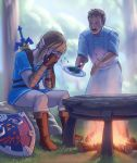2boys apron bad_food blonde_hair blue_eyes boots brown_footwear brown_gloves cauldron censored censored_food covering_face crying daniel_castro_maia earrings fingerless_gloves fire gloves gordon_ramsay grass hell's_kitchen highres holding holding_plate jewelry knee_boots link male_focus master_sword mosaic_censoring multiple_boys outdoors pants plate pointy_ears sheath sheathed short_sleeves sidelocks sitting standing tears the_legend_of_zelda the_legend_of_zelda:_breath_of_the_wild tree tunic waist_apron weapon weapon_on_back white_apron white_pants wood