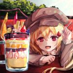 1girl :d alternate_costume alternate_headwear arm_rest arm_up blonde_hair blue_sky blueberry blush brown_headwear brown_jacket commentary_request cup day eyebrows_visible_through_hair fang flandre_scarlet flat_cap food fruit hair_between_eyes hat highres holding holding_spoon ice_cream jacket light_rays long_sleeves looking_at_viewer mug one_side_up open_mouth orange orange_slice outdoors parfait red_eyes shirt skin_fang sky smile solo spoon strawberry sunbeam sunlight table torottye touhou tree wafer_stick white_shirt wings