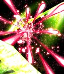 1girl abstract_background bishamonten's_pagoda bishamonten's_spear blonde_hair closed_mouth danmaku floating full_body glowing highres holding holding_weapon light_particles looking_down open_eyes short_hair solo spell_card sunyup toramaru_shou touhou undefined_fantastic_object weapon wide_sleeves