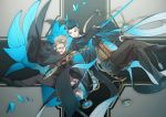 2boys black_gloves black_hair blue_hair bug butterfly corset facial_hair fate/grand_order fate_(series) formal glasses gloves grey_hair hair_slicked_back insect james_moriarty_(fate/grand_order) magnifying_glass male_focus multiple_boys mustache no-kan sherlock_holmes_(fate/grand_order) suit