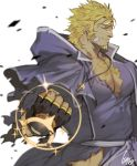 1boy bara beard blonde_hair chest clenched_hand closed_eyes facial_hair gloves gomtang jacob_(tokyo_houkago_summoners) jewelry long_hair long_sleeves male_focus muscle necklace pectorals priest shiny simple_background smile solo thighs tokyo_houkago_summoners