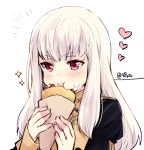 1girl blush closed_mouth crepe cute eating eyebrows_visible_through_hair fire_emblem fire_emblem:_fuukasetsugetsu fire_emblem:_three_houses fire_emblem_16 food food_on_face food_request heart holding holding_food intelligent_systems loli lysithea_von_ordelia naho_(pi988y) nintendo pastry pink_eyes simple_background solo sparkle twitter_username upper_body watermark white_hair