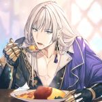 1boy asymmetrical_clothes bangs blonde_hair blue_eyes cassius_(granblue_fantasy) collarbone earrings eyebrows_visible_through_hair food food_on_face gloves granblue_fantasy highres jewelry ketchup male_focus matsuki_tou omurice plate rice rice_on_face solo spoon tassel_earrings