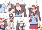 1girl :o agata_(agatha) bag blue_(pokemon) blue_shirt blush breasts brown_eyes brown_hair cellphone closed_eyes flip_phone gen_1_pokemon hat heart holding holding_pokemon long_hair medium_breasts messenger_bag multiple_views nidoran open_mouth phone pokemon pokemon_(creature) pokemon_(game) pokemon_frlg porkpie_hat red_skirt shirt shoulder_bag simple_background skirt sleeveless sleeveless_shirt smile standing sweat twitter_username v