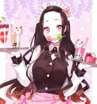 1girl apron bangs black_hair black_vest blush breasts brown_hair bubble_tea collared_shirt commentary dango drinking_straw food food_in_mouth forehead fox_mask fruit gradient_hair hair_ribbon highres holding holding_tray kamado_nezuko kimetsu_no_yaiba long_sleeves looking_at_viewer maid_headdress mask medium_breasts misumi_(macaroni) mouth_hold multicolored_hair parfait parted_bangs pink_apron pink_eyes pink_ribbon ribbon sanshoku_dango shirt solo strawberry tray upper_body vest wagashi waitress white_shirt
