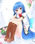 1girl apron blue_eyes blue_skirt blurry blurry_background blush boots bow bowtie cross-laced_footwear dot_nose eyebrows_visible_through_hair food fruit hair_between_eyes hand_on_own_cheek headwear_removed highres hinanawi_tenshi in_water knee_boots kuraaken lace-up_boots legs_together looking_at_viewer peach puffy_short_sleeves puffy_sleeves red_eyes red_neckwear shirt short_sleeves sitting skirt smile solo touhou water water_drop waterfall white_shirt zipper