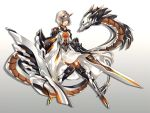 1girl armor armored_dress bangs black_legwear blue_eyes commentary_request dragon dress full_body gradient gradient_background grey_background grey_hair hair_over_one_eye highres horns mecha_musume open_mouth original over-kneehighs red_eyes shield short_hair solo sword thigh-highs weapon white_background white_dress xianguang