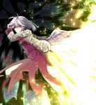 1girl abstract_background blush bow bowtie breasts brown_footwear cross-laced_footwear feathered_wings feathers flying full_body glowing grey_jacket hand_in_hair highres jacket kishin_sagume leg_up legacy_of_lunatic_kingdom light light_particles light_rays looking_at_viewer medium_breasts red_eyes short_hair silver_hair single_wing solo spell_card sunyup touhou white_hair white_wings wings